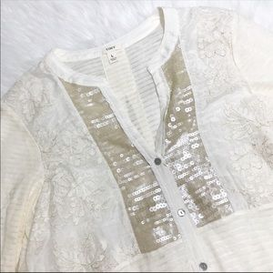 Anthropologie Sequin Lace Blouse